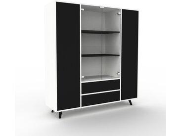Vitrine - Blanc, design, pour documents, avec porte Noir et tiroir Noir - 154 x 168 x 47 cm