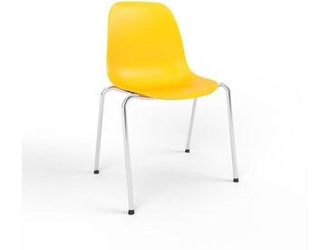 Chaise en bois jaune de 49 x 82 x 57 cm au design unique, configurable