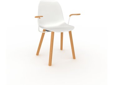Chaise en bois blanc de 49 x 82 x 62 cm au design unique, configurable