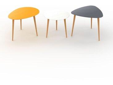 Tables basses gigognes - Anthracite, ovale/ronde/triangulaire, design scandinave, set de 3 tables basses - 67/50/59 x 47/44/50 x 50/50/61 cm