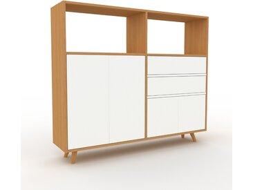Commode - Chêne, moderne, raffinée, avec porte Blanc et tiroir Blanc - 152 x 130 x 35 cm