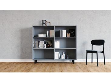Système d'étagère - gris, design contemporain, rangements de qualité, modulables - 152 x 130 x 35 cm, personnalisable