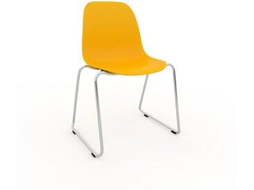 Chaise en bois jaune de 49 x 82 x 58 cm au design unique, configurable