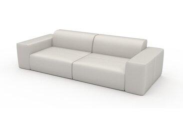 Canapé en cuir - Blanc Cuir Pigmenté, lounge, esprit club ou cosy avec toucher chaleureux - 266 x 72 x 107 cm, modulable