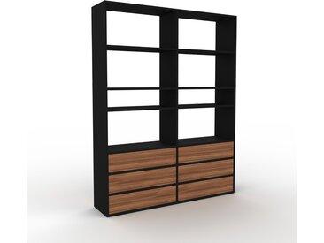 Bibliothèque - Noir, modèle tendance, rangements pour livres, avec tiroir Noyer - 152 x 195 x 35 cm, modulable