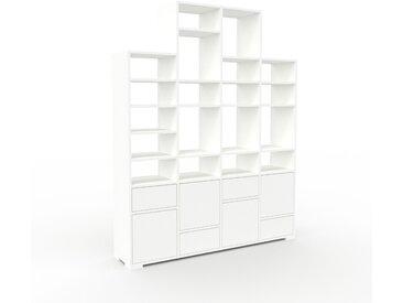 Bibliothèque - Blanc, design contemporain, avec porte Blanc et tiroir Blanc - 156 x 196 x 35 cm