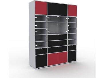 Vitrine - Verre clair transparent, design, pour documents, avec porte Verre clair transparent et tiroir Noir - 154 x 196 x 47 cm