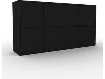 Commode - Noir, contemporaine, élégantes, avec porte Noir - 154 x 80 x 35 cm, personnalisable