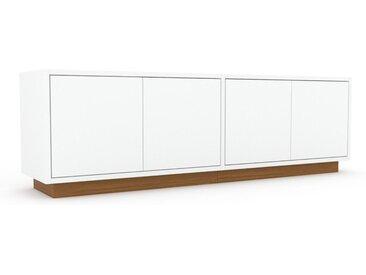 Buffet bas - Blanc, pièce de caractère, rangements bas de luxe, avec porte Blanc - 152 x 47 x 35 cm, personnalisable