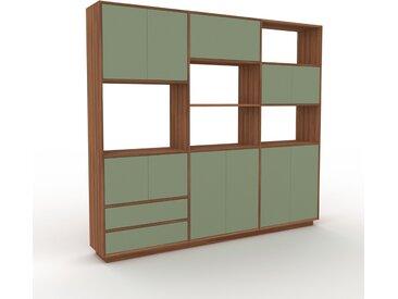 Bibliothèque murale - Vert de gris, combinable, étagère, avec porte Vert de gris et tiroir Vert de gris - 226 x 200 x 35 cm