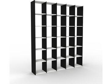 Bibliothèque - Noir, design, étagère pour livres, sophistiquée, ouverte et fonctionelle - 195 x 233 x 35 cm, personnalisable