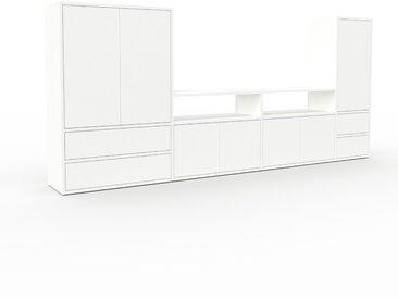 Meuble TV - Blanc, design, meuble hifi, multimedia, avec porte Blanc et tiroir Blanc - 265 x 118 x 35 cm