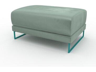Pouf en velours - Bleu Glacier, design épuré, 80 x 42 x 60 cm, modulable