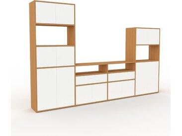 Placard - Chêne, moderne, rangements, avec porte Blanc et tiroir Blanc - 301 x 195 x 35 cm