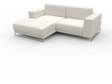 Canapé en cuir - Blanc Cuir Pigmenté, lounge, esprit club ou cosy avec toucher chaleureux, 208x 75 x 162 cm, modulable