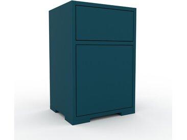 Table de chevet - Bleu pétrole, moderne, table de nuit, avec porte Bleu pétroles et tiroir Bleu pétrole - 41 x 62 x 35 cm