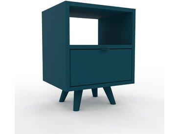 Table de chevet - Bleu pétrole, contemporaine, table de nuit, avec tiroir Bleu pétrole - 41 x 53 x 35 cm, modulable