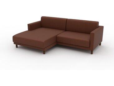 Canapé en cuir - Cognac Cuir Végan, lounge, esprit club ou cosy avec toucher chaleureux, 224x 75 x 162 cm, modulable