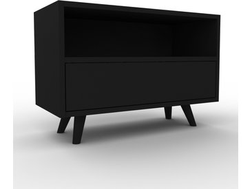 Meuble TV - Noir, contemporain, meuble hifi, multimedia raffiné, avec tiroir Noir - 77 x 53 x 35 cm, configurable