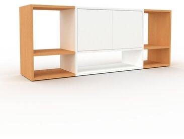 Range CD en hêtre, bois certifié, aspect intemporel, meuble pour vinyles, DVD de qualité - 154 x 61 x 35 cm, modulable