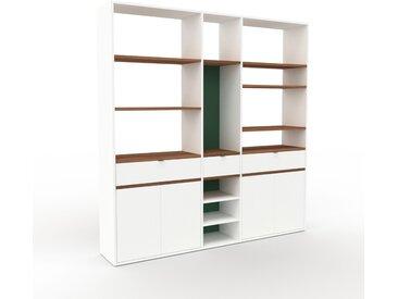 Bibliothèque - Blanc, design contemporain, avec porte Blanc et tiroir Blanc - 190 x 195 x 35 cm