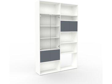 Vitrine - Blanc, moderne, pour documents, avec porte Anthracite - 152 x 233 x 35 cm, personnalisable