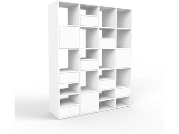 Système d'étagère - blanc, design, rangements, avec porte blanc et tiroir blanc - 156 x 195 x 47 cm