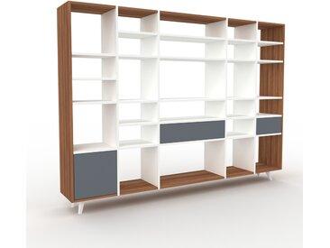 Bibliothèque - Blanc, design contemporain, avec porte Anthracite et tiroir Anthracite - 231 x 168 x 35 cm