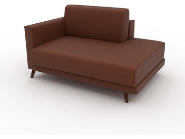 Canapé en cuir - Cognac Cuir Végan, lounge, esprit club ou cosy avec toucher chaleureux, 133x 75 x 98 cm, modulable