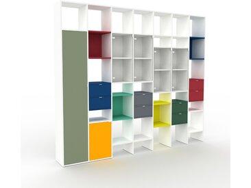 Vitrine - Verre clair transparent, design, pour documents, avec porte Verre clair transparent et tiroir Bleu nuit - 272 x 233 x 35 cm