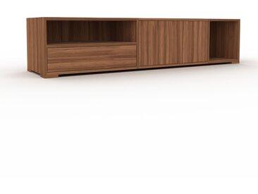 Meuble TV - Noyer, design, meuble hifi, multimedia, avec porte Noyer et tiroir Noyer - 190 x 43 x 47 cm