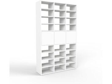 Système d'étagère - blanc, modulable, rangements, avec porte blanc - 118 x 195 x 35 cm