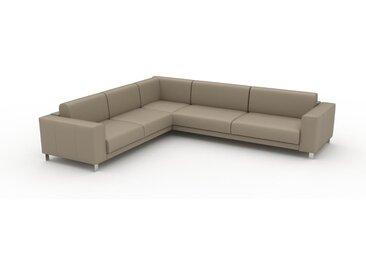 Canapé en cuir - Beige taupe Cuir Pigmenté, lounge, esprit club ou cosy avec toucher chaleureux, 318x 75 x 278 cm, modulable