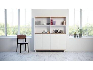 Buffet - Blanc, pièce modulable, enfilade, avec porte Blanc - 152 x 168 x 35 cm