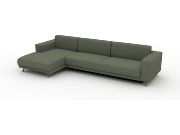 Canapé convertible - Vert Olive, design épuré, canapé lit confortable, confortable avec coffre de rangement - 328 x 75 x 162 cm, modulable