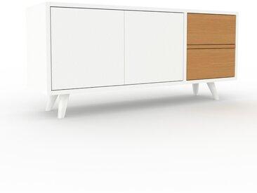 Buffet bas - Blanc, design contemporain, avec porte Blanc et tiroir Chêne - 116 x 53 x 35 cm