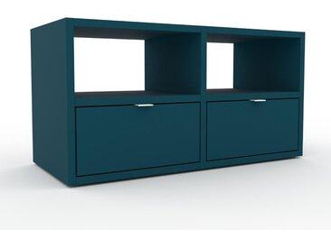 Buffet bas - Bleu pétrole, modèle tendance, rangements bas sophistiqué, avec tiroir Bleu pétrole - 79 x 41 x 35 cm, modulable