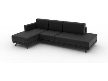 Canapé en cuir - Noir Cuir Aniline, lounge, esprit club ou cosy avec toucher chaleureux, 253x 75 x 162 cm, modulable
