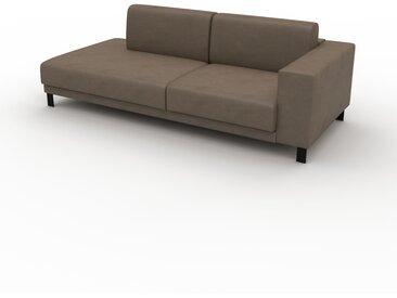 Canapé en cuir - Brun gris Cuir Végan, lounge, esprit club ou cosy avec toucher chaleureux, 224x 75 x 98 cm, modulable