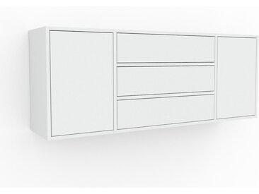Étagère murale - Blanc, combinable, placard, avec porte Blanc et tiroir Blanc - 154 x 61 x 35 cm