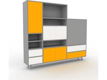 Système d'étagère - Gris, design, rangements, avec porte Jaune et tiroir Blanc - 190 x 168 x 35 cm