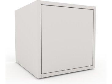 Table de chevet - Blanc, pièce de caractère, table de nuit, avec porte Blanc - 41 x 41 x 47 cm, combinable