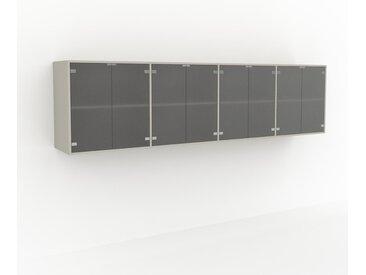 Étagère murale - Verre clair dépoli, modèle moderne, placard, avec porte Verre clair dépoli - 301 x 80 x 47 cm, modulable