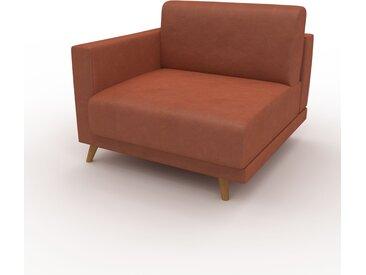 Canapé en cuir - Cognac Cuir Végan, lounge, esprit club ou cosy avec toucher chaleureux, 93x 75 x 98 cm, modulable