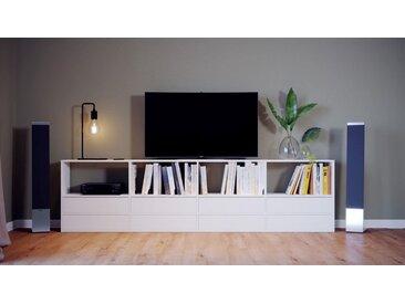 Meuble TV - Blanc, contemporain, meuble hifi, multimedia raffiné, avec tiroir Blanc - 301 x 80 x 35 cm, configurable