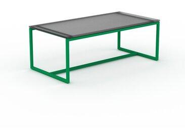 Table basse en verre fumé dépoli, design industriel, bout de canapé raffiné - 81 x 31 x 42 cm, personnalisable
