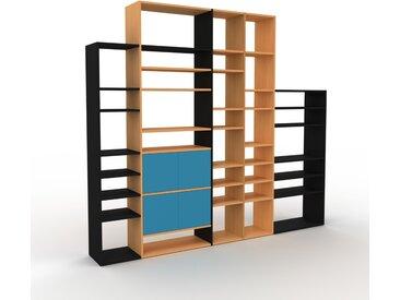 Placard - Noir, contemporain, rangements, avec porte Bleu - 267 x 233 x 35 cm, modulable