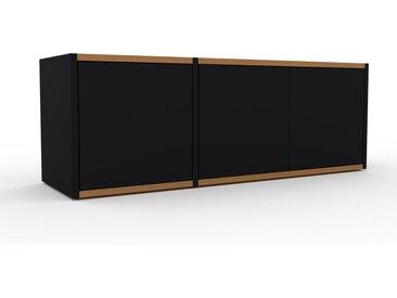 Buffet bas - Noir, pièce de caractère, rangements bas de luxe, avec porte Noir - 116 x 41 x 35 cm, personnalisable
