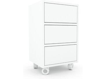 Caisson à roulette - Blanc, pièce modulable, rangement mobile, avec tiroir Blanc - 41 x 68 x 35 cm