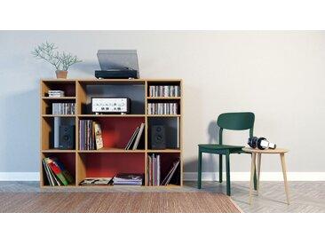 Range CD - Chêne, design contemporain, meuble pour vinyles, DVD - 154 x 118 x 35 cm, personnalisable